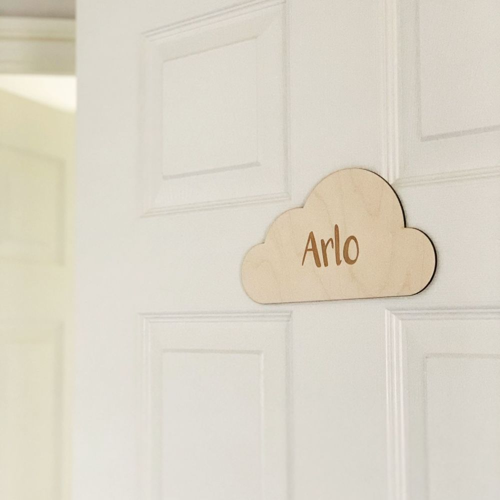 Personalised wooden cloud plaque