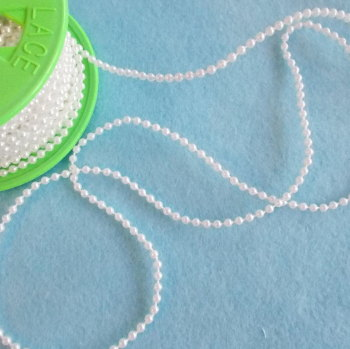 3mm Wide Plastic Pearls on a String