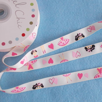 Reel Chic - 16mm Wide Antique White Ballet Theme Ribbon