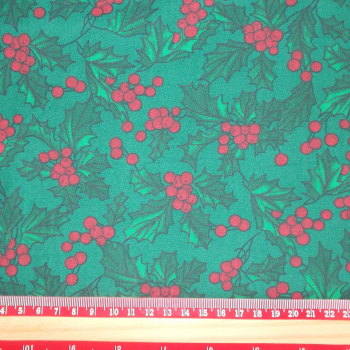 Polycotton Print Fabric - Christmas Holly on Green
