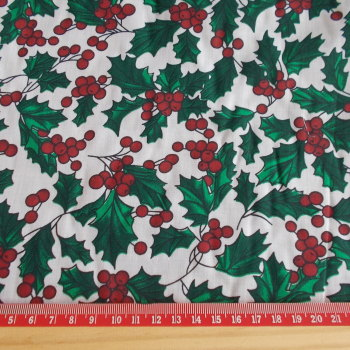 Polycotton Print Fabric - Christmas Holly on White