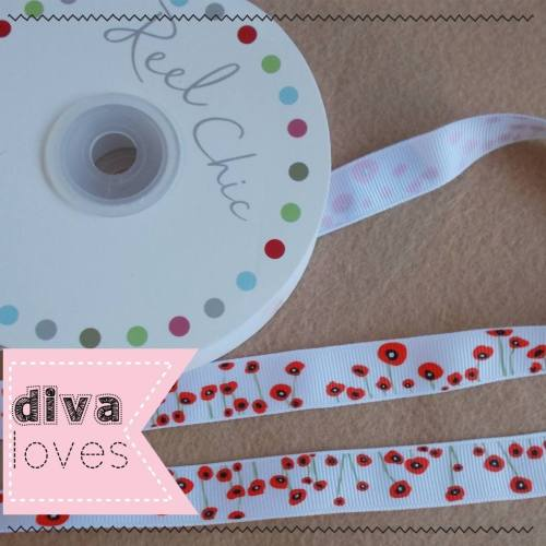 poppy ribbon 16mm wide grosgrain diva crafts diva loves week 149
