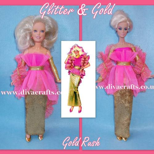 jem - glitter and gold gold rush outfit jem doll clothes cazjar diva crafts
