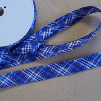 100% Cotton Bias Binding - Blue Tartan