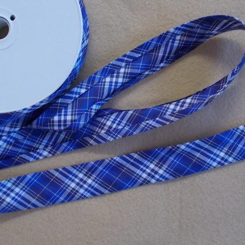 100% Cotton Bias Binding - Blue Tartan