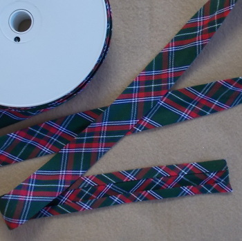 100% Cotton Bias Binding - Green & Red Tartan