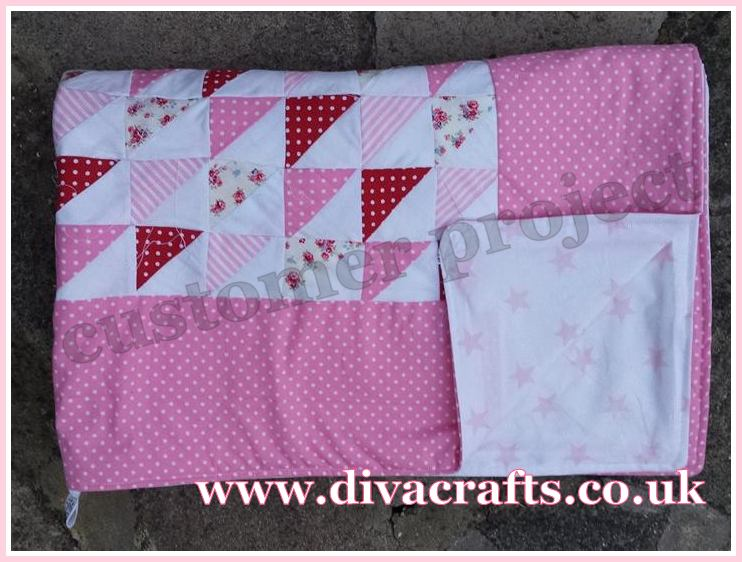 customer project pink patchwork quilt by tabby diva crafts 1