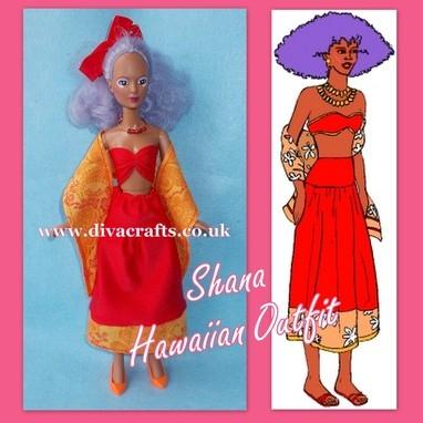 shana hawaiian outfit jem doll clothes cazjar