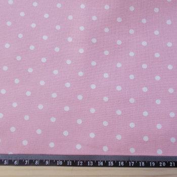 Polka Dot Cotton Canvas Fabric - White Spot on Pink