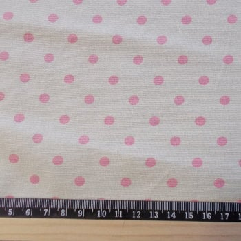 Polka Dot Cotton Canvas Fabric - Pink Spot on Cream