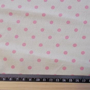 Polka Dot Cotton Canvas Fabric - Pink Spot on Cream
