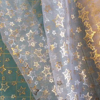 Organdy Bright Gold Stars