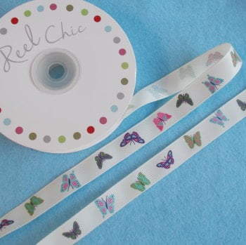 Reel Chic - 16mm Wide Antique White Butterfly Theme Ribbon
