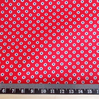 Ditsy Daisy Flower 100% Cotton Fabric - Red