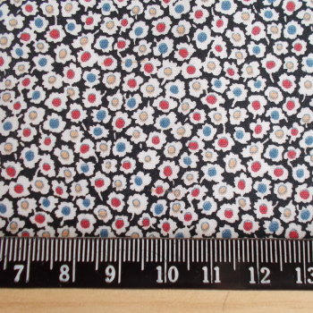 Mini Flowers on Black 100% Cotton Fabric