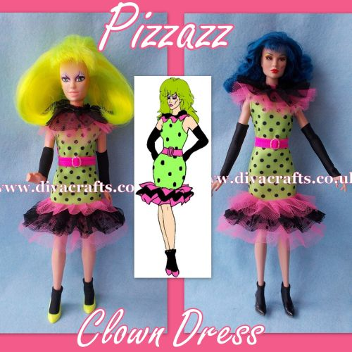 pizzazz - clown dress outfit jem doll clothes cazjar