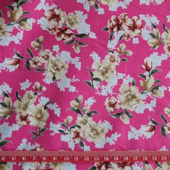 Floral on Cerise 100% Cotton Fabric