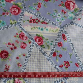 Patchwork Look Blue 100% Cotton Fabric