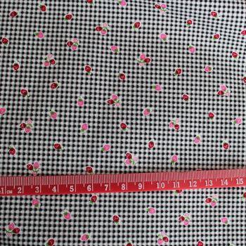 Mini Strawberries on Check 100% Cotton Fabric