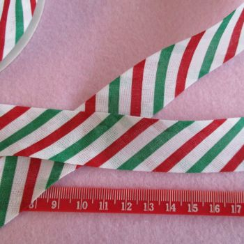 Christmas 25mm Wide Bias Binding - Candy Stripe
