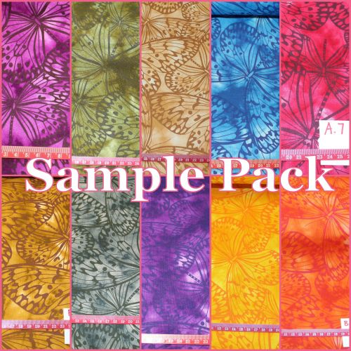 Fabric Freedom Watercolour butterflies - Sample of All 10 Colours