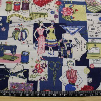 Vintage Sewing Theme 100% Cotton Poplin Fabric
