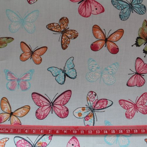 Butterflies on Pale Blue 100% Cotton Fabric