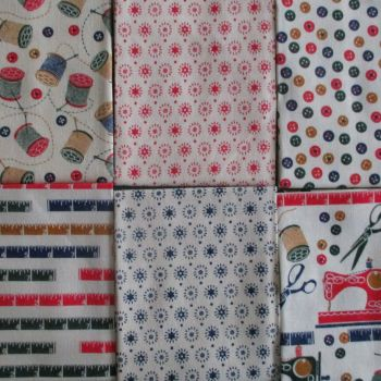 Fat Quarter Bundle - Linen Sewing Theme Beige Background