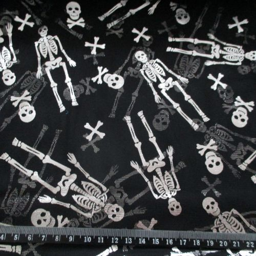 Soft Drape Net Halloween Silver Foil Skelentons on Black