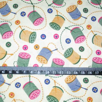 Cotton Reels on Cream Background 100% Cotton Fabric