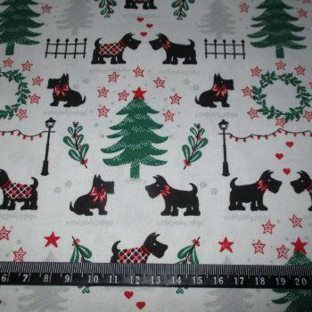 Christmas Scottie Dogs 100% Cotton Fabric