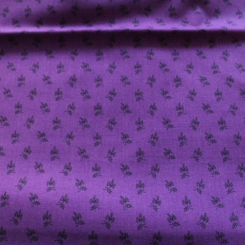 Small black print on Purple 100% Cotton patchwork Fabric