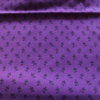 Small black print on Purple 100% Cotton patchwork Fabric