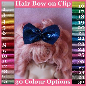 Jem Doll Hair Bow on Clip - Sparkle (Colour Choice)