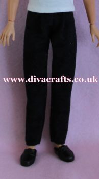 Handmade by Cazjar to fit Rio & Riot Integrity Doll Suedette Trousers - Black