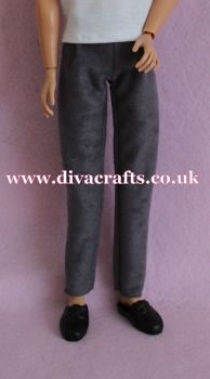 Handmade by Cazjar to fit Rio & Riot Integrity Doll Suedette Trousers - Grey