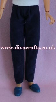 Handmade by Cazjar to fit Rio & Riot Integrity Doll Suedette Trousers - Navy Blue
