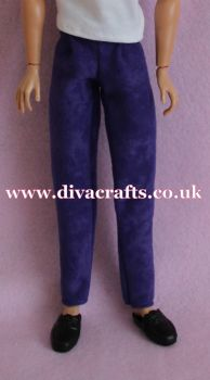 Handmade by Cazjar to fit Rio & Riot Integrity Doll Suedette Trousers - Purple