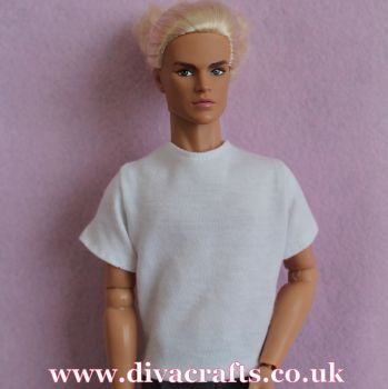 Handmade by Cazjar to fit Rio & Riot Integrity Doll Cotton Jersey Tshirt - White