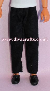 Handmade by Cazjar to fit Rio Hasbro Doll Suedette Trousers - Black