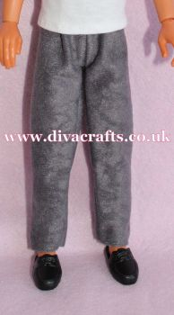 Handmade by Cazjar to fit Rio Hasbro Doll Suedette Trousers - Grey