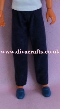 Handmade by Cazjar to fit Rio Hasbro Doll Suedette Trousers - Navy Blue