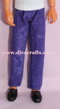 Handmade by Cazjar to fit Rio Hasbro Doll Suedette Trousers - Purple