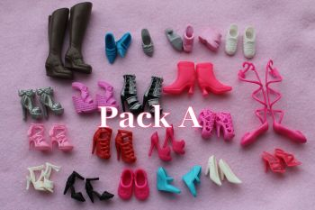 Mixed Pack of Fashion Doll Shoes fits Barbie & Similar Size Dolls - Pack A