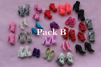 Mixed Pack of Fashion Doll Shoes fits Barbie & Similar Size Dolls - Pack B