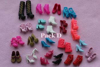 Mixed Pack of Fashion Doll Shoes fits Barbie & Similar Size Dolls - Pack D