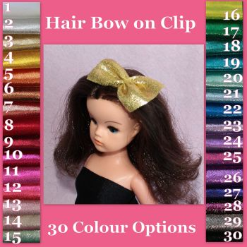 Sindy Doll Hair Bow on Clip - Sparkle (Colour Choice)