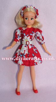 Handmade by Cazjar Pedigree Sindy Fashion - Puff Sleeve Dress Red with Floral