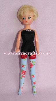 Handmade by Cazjar Pedigree Sindy Fashion -  Lycra Stockings - Pink Roses on Blue