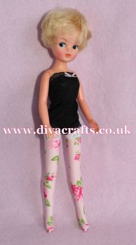 Handmade by Cazjar Pedigree Sindy Fashion -  Lycra Stockings - Pink Roses on Pink